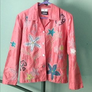 M Silk Jacket Top Embroidered Beads Vacation Flora
